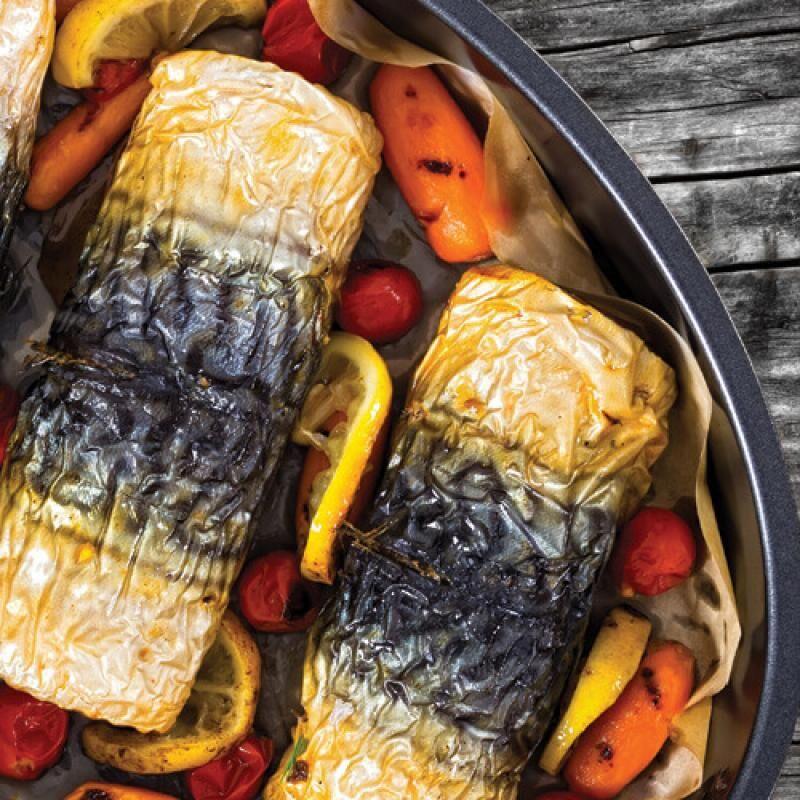 Makréla tekercs Chimay Triple sörös zöldségraguval